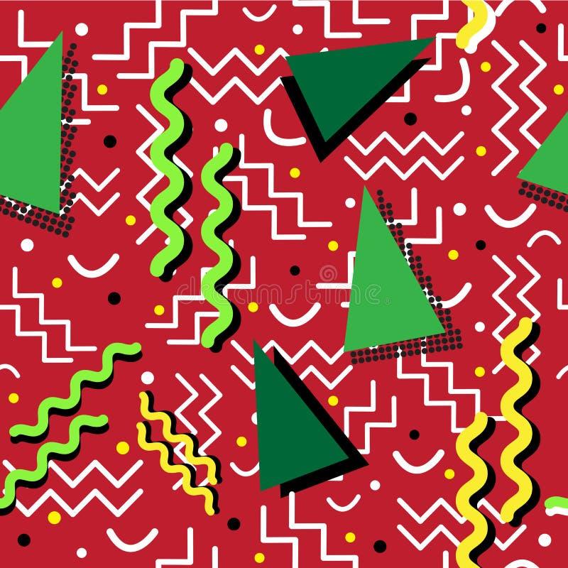 Memphis Pattern enrrollado en rojo stock de ilustración