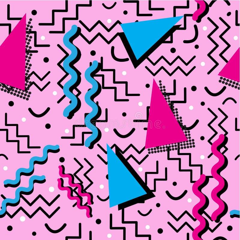 Memphis Pattern enrrollado en rosa libre illustration