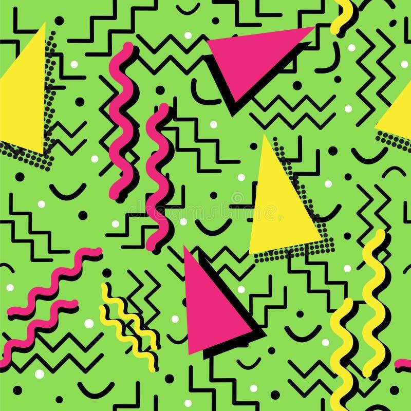 Memphis Pattern enrrollado en verde ilustración del vector