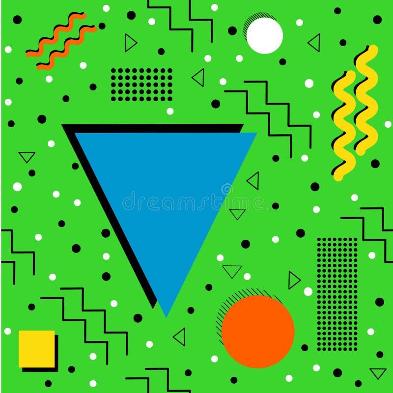 Memphis Pattern enrrollado en verde libre illustration