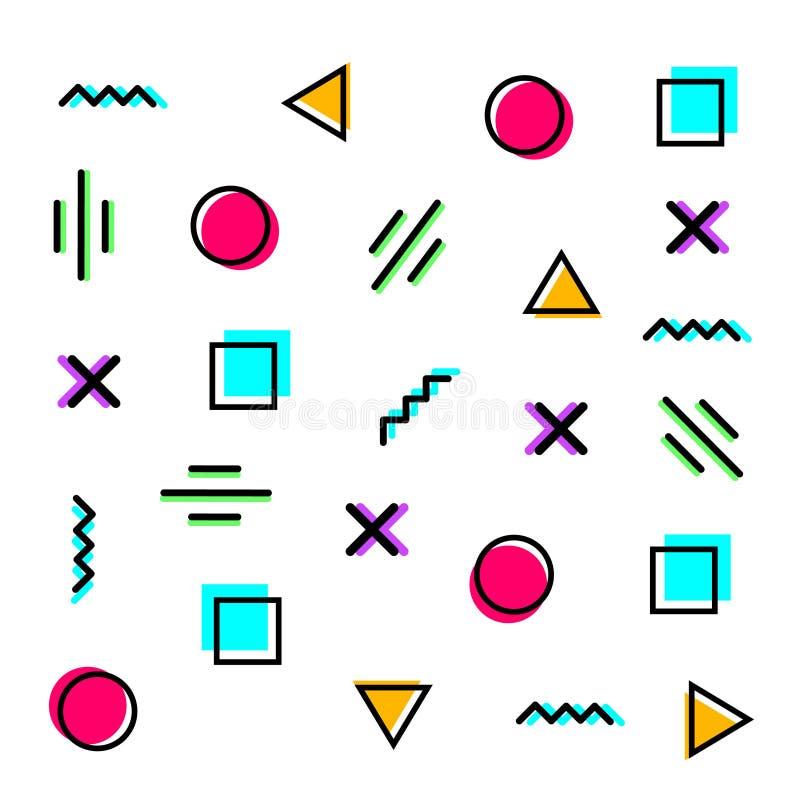 Memphis Pattern geométrico moderno para las plantillas del fondo y de la presentación ilustración del vector