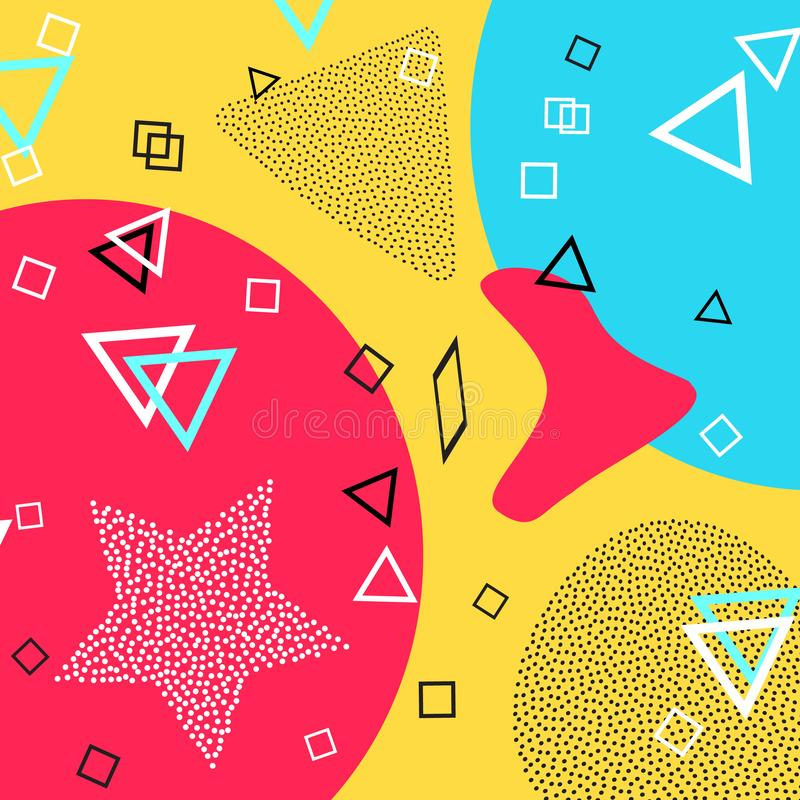 Memphis pattern of geometric shapes for tissue and postcards. Vector Illustration. Hipster style. Abstract colorful funky backdrop. Memphis pattern of geometric stock illustration