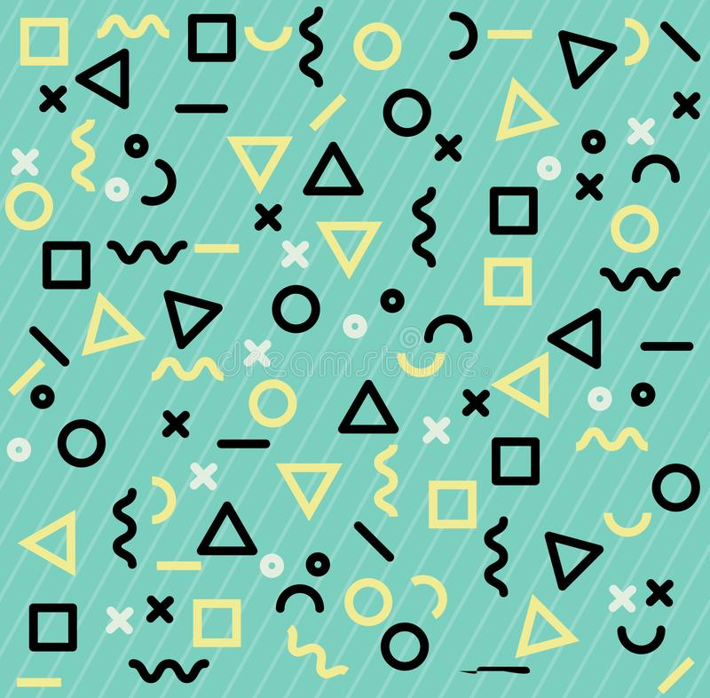 Memphis patterns geometric shapes royalty free illustration