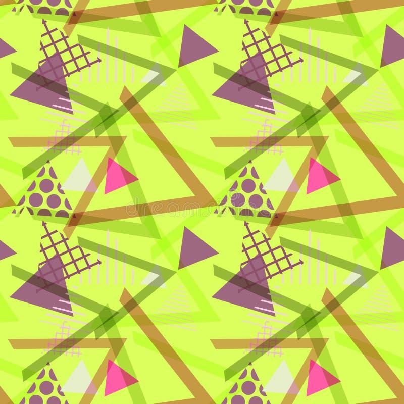 Memphis Postmodern Retro-Modeart 80-90s Elemente des nahtlosen Musters geometrische Beschaffenheit formt lila Rosa des Dreiecks f stock abbildung