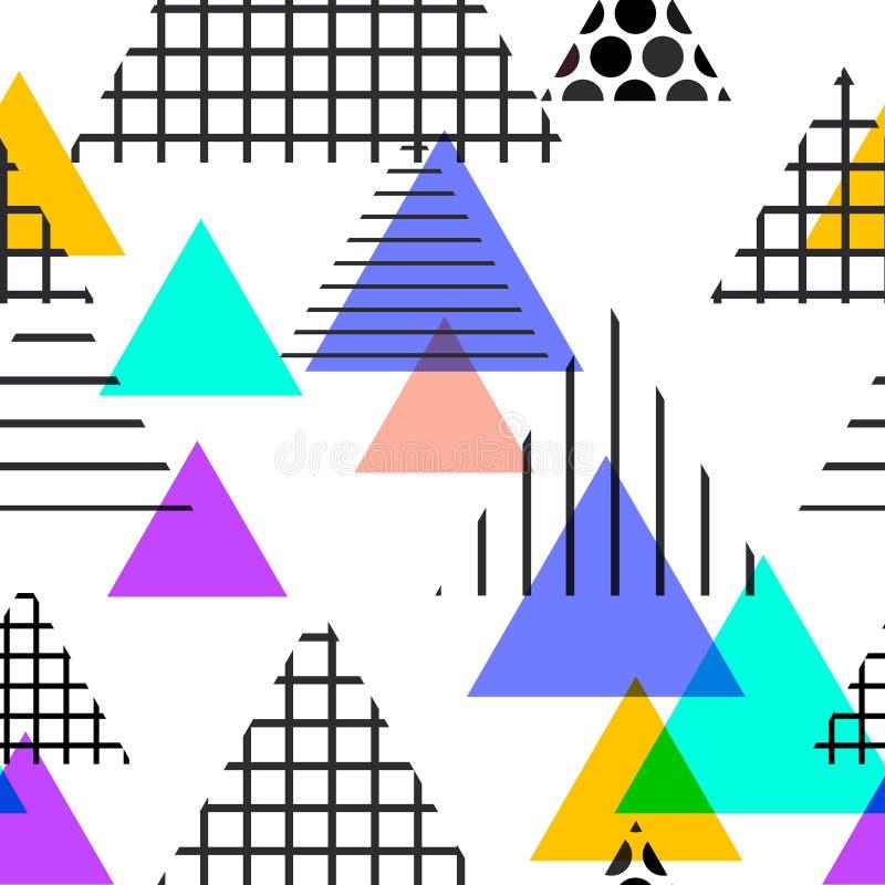 Memphis Postmodern Retro-Modeart 80-90s Elemente des nahtlosen Musters geometrische Beschaffenheitsform-Dreieck gelbes schwarzes  stock abbildung