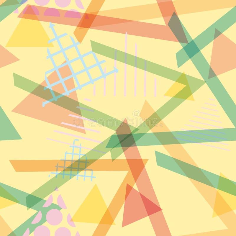 Memphis Postmodern Retro-Modeart 80-90s Elemente des nahtlosen Musters geometrische blaues lila orange Grün des Beschaffenheitsfo vektor abbildung