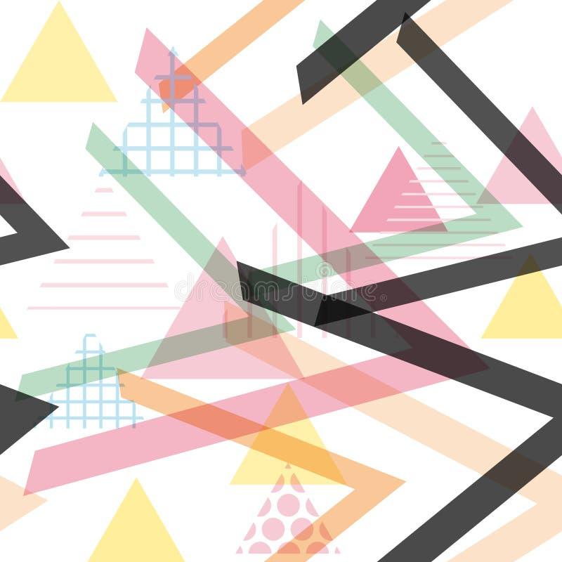 Memphis Postmodern Retro-Modeart 80-90s Elemente des nahtlosen Musters geometrische blaues lila Rosa O des Beschaffenheitsformdre stock abbildung