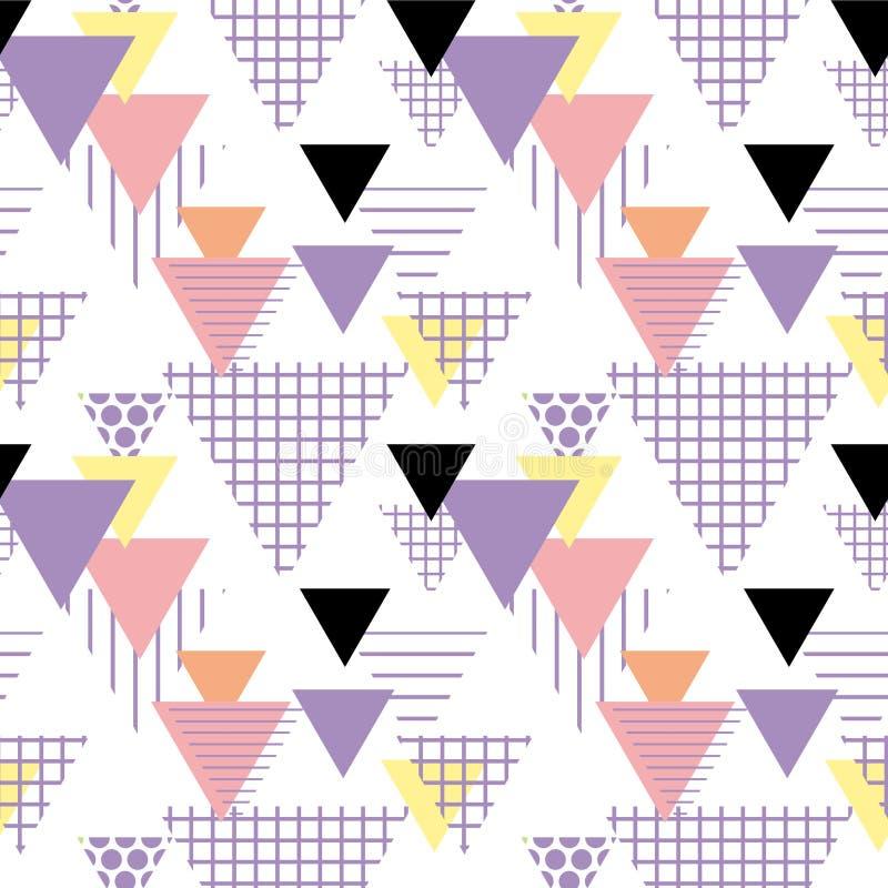 Memphis Postmodern Retro-Modeart 80-90s Elemente des nahtlosen Musters geometrische gelbes schwarzes rosa Orang-Utan des Beschaff vektor abbildung