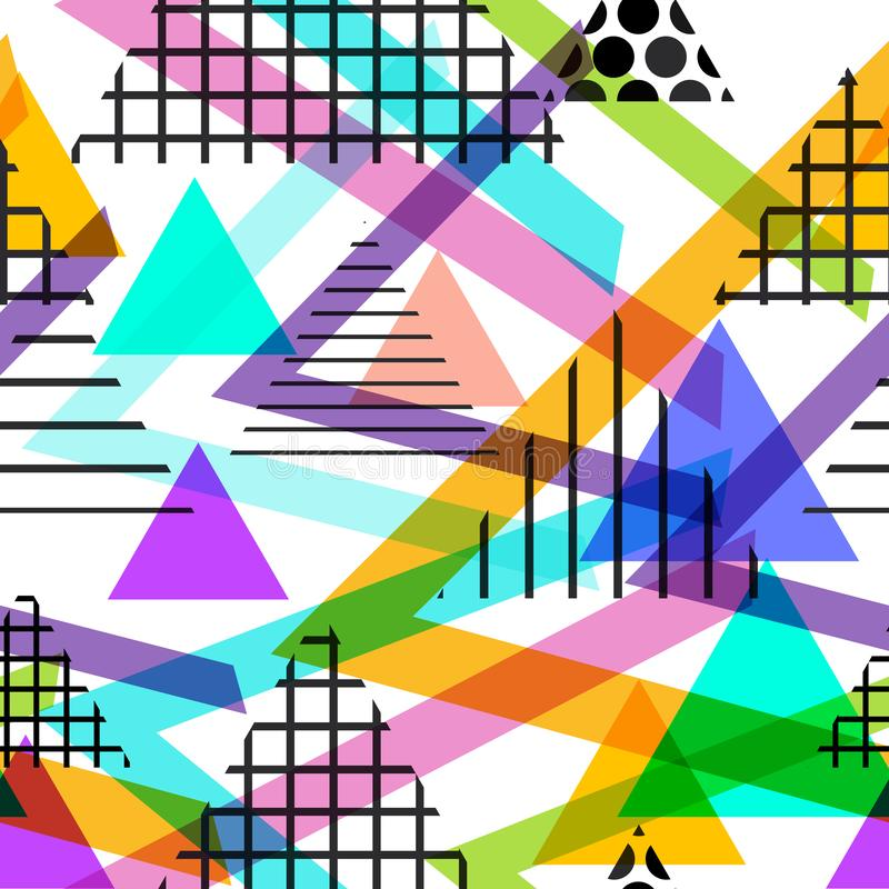 Memphis Postmodern Retro-Modeart 80-90s Elemente des nahtlosen Musters geometrische graue blaue lila Orange des Beschaffenheitsfo vektor abbildung