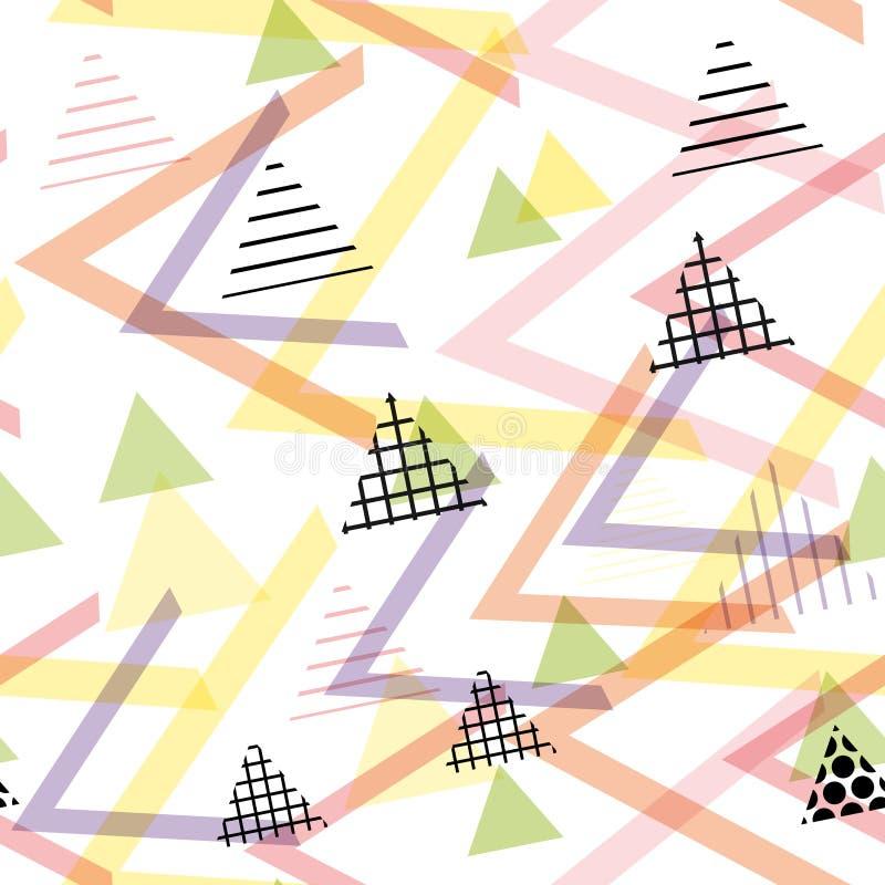 Memphis Postmodern Retro-Modeart 80-90s Elemente des nahtlosen Musters geometrische lila rosa Orange des Beschaffenheitsformdreie lizenzfreie abbildung