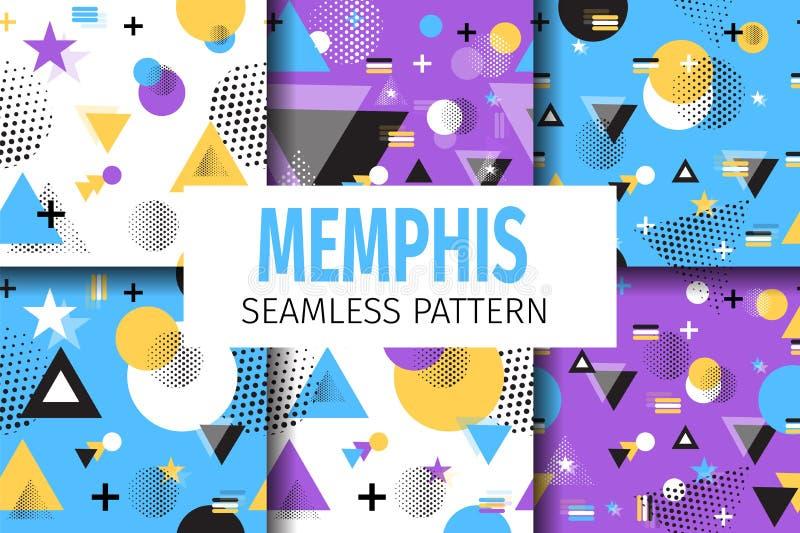 Memphis próbek wzoru Ustalony Wektorowy Geometryczny mieszkanie royalty ilustracja