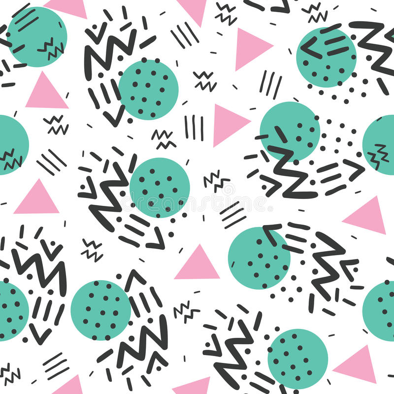 Memphis projektuje, geometryczny wzór, abstrakcjonistyczny bezszwowy wzór, retro 80s styl ilustracji