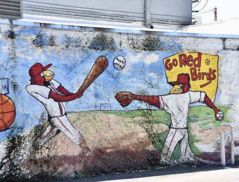 Memphis Redbirds Baseball Team Mural royaltyfri bild