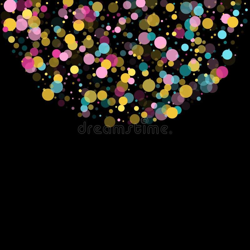 Memphis round confetti świąteczny tło w cyan błękicie, menchiach i kolorze żółtym, Dziecięcy deseniowy wektor royalty ilustracja