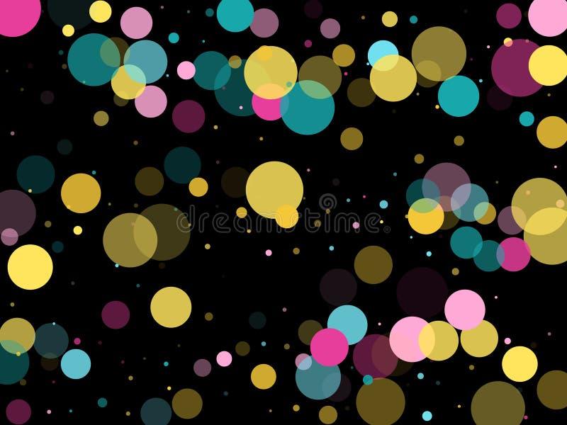 Memphis round confetti świąteczny tło w cyan błękicie, menchiach i kolorze żółtym, Dziecięcy deseniowy wektor ilustracja wektor