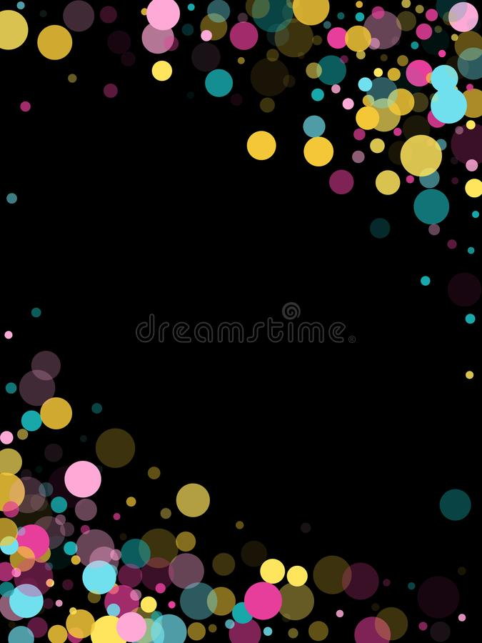 Memphis round confetti festive background in cyan blue, pink and yellow. Childish pattern vector. royalty free stock image