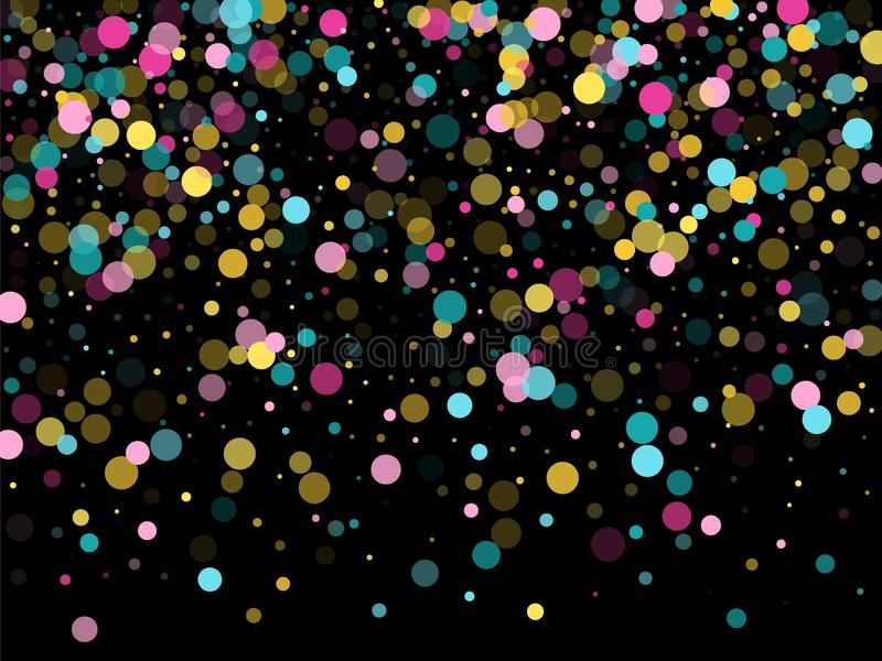 Memphis round confetti festive background in cyan blue, pink and yellow. Childish pattern vector. stock illustration
