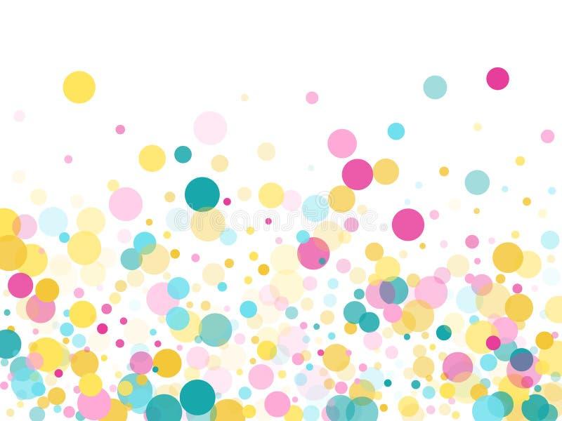 Memphis round confetti ?wi?teczny t?o w cyan b??kicie, menchiach i kolorze ? ilustracja wektor
