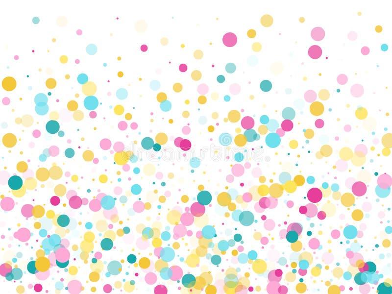 Memphis rundar festlig bakgrund för konfettier i cyan blått, rosa färger och guling Barnslig modellvektor royaltyfri illustrationer