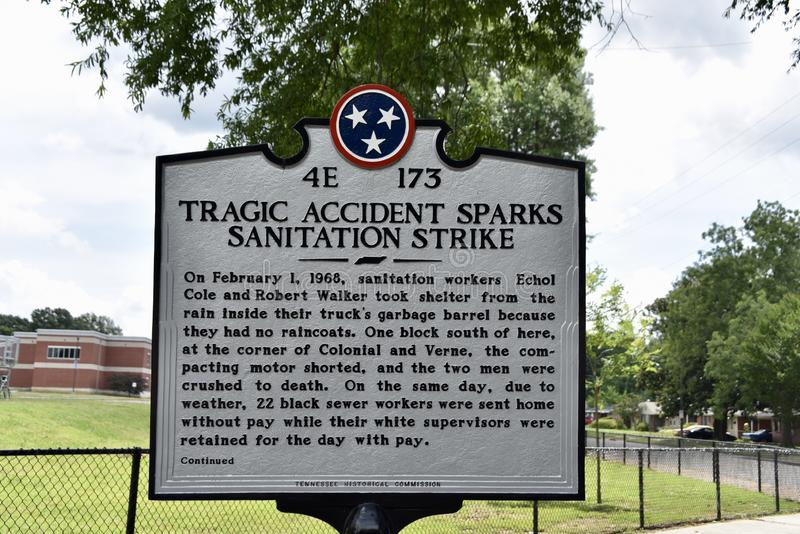 Memphis Sanitation Strikes Marker, Memphis, TN stockbilder