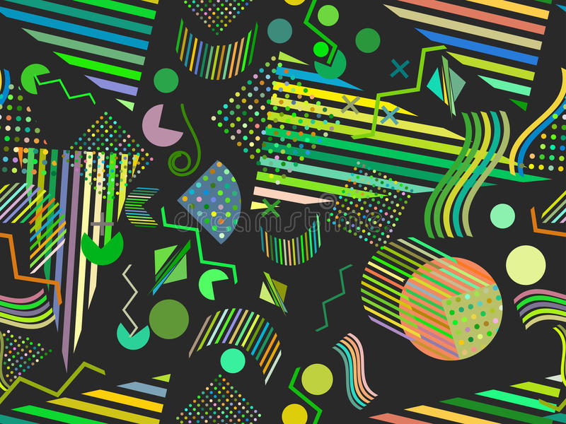 Memphis seamless pattern. Abstract seamless patterns 80`s-90`s styles. Vector royalty free illustration