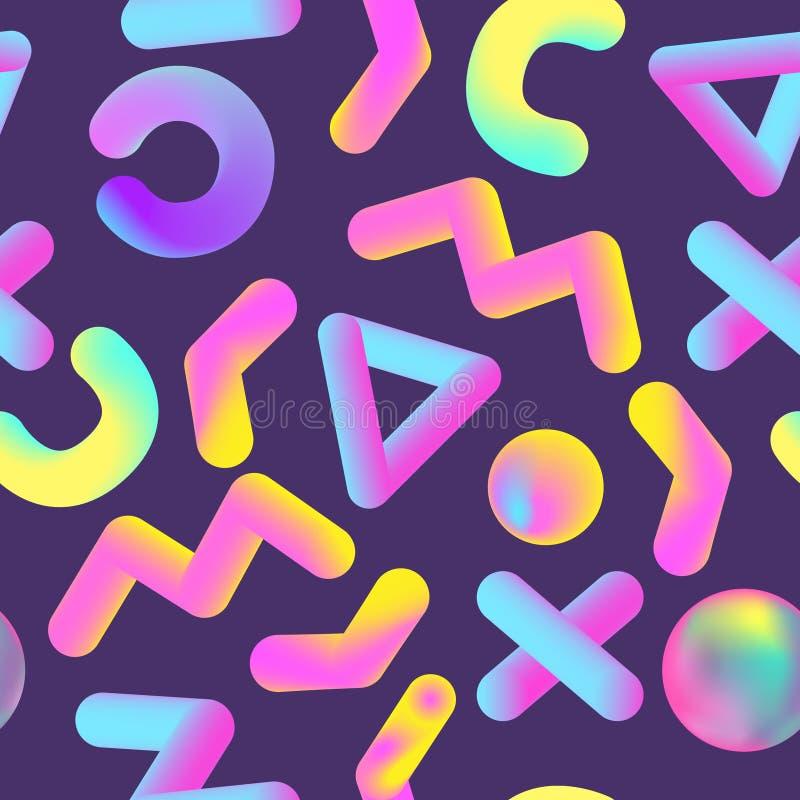 Memphis Seamless Pattern abstrait avec des formes géométriques réalistes Fond liquide liquide pour l'affiche, bannière, couvrant illustration stock
