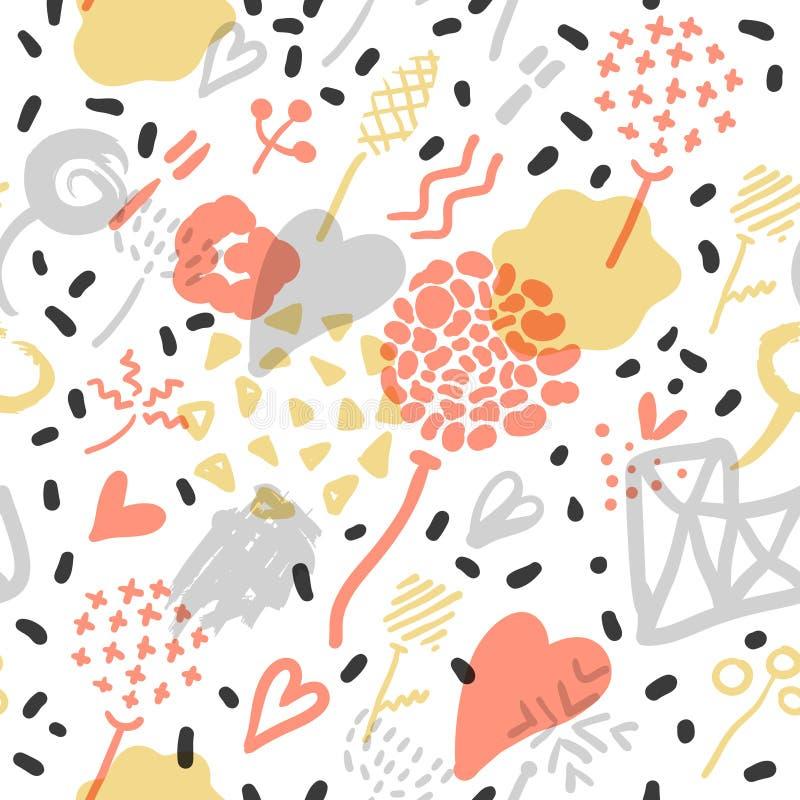 Memphis Seamless Pattern abstrait avec les éléments romantiques Fond tiré par la main de hippie avec des coeurs Conception du vin illustration de vecteur