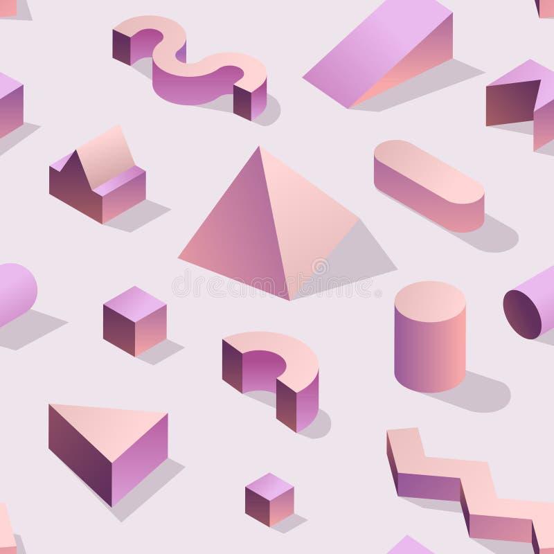 Memphis Seamless Pattern astratto d'avanguardia con le forme geometriche 3d Fondo di modo per il tessuto, stampa, copertura, mani royalty illustrazione gratis