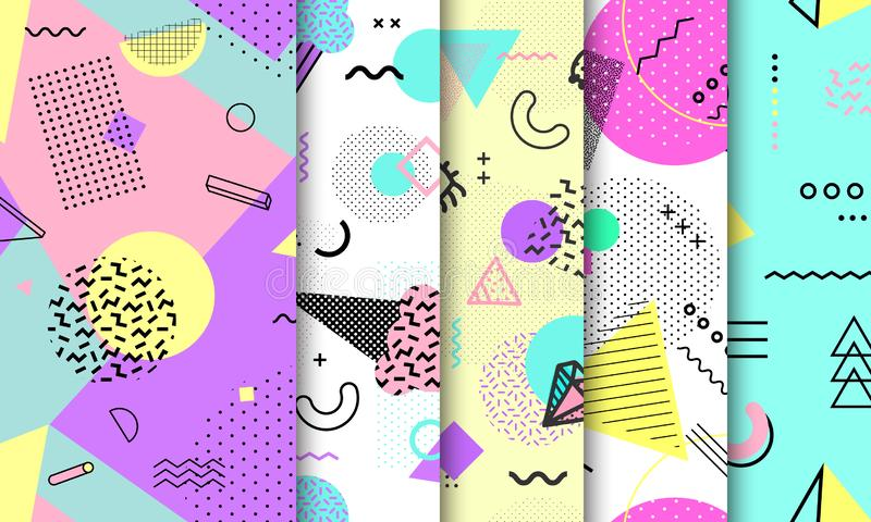 Memphis seamless pattern collection. Geometric seamless pattern different shapes fashion 80`s-90`s style. Set of pastel Memphis royalty free illustration
