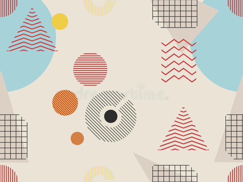 Memphis seamless pattern. Geometric elements memphis in the style of 80s. Bauhaus retro. Vector. Illustration royalty free illustration