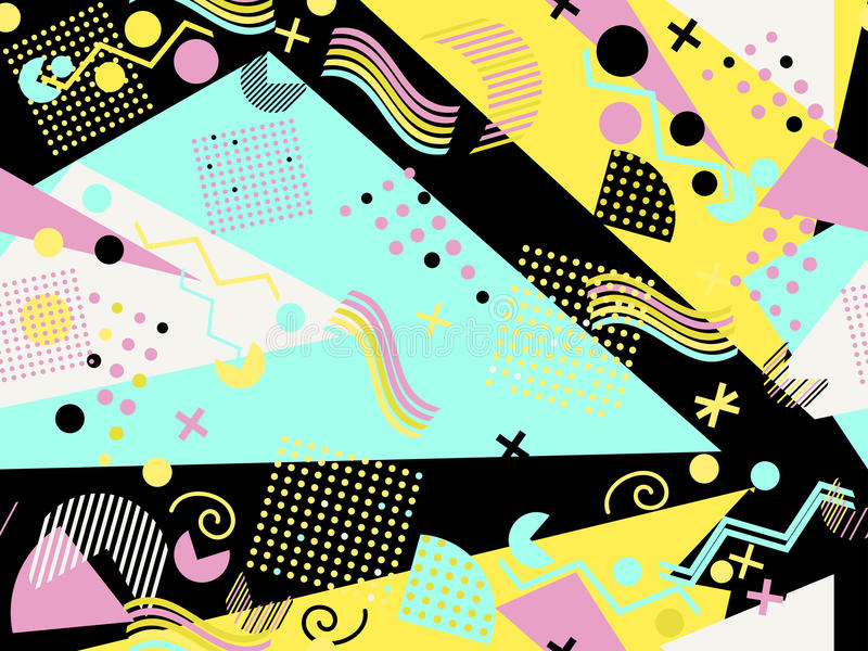 Memphis seamless pattern. Geometric elements memphis in the style of 80`s. Vector royalty free illustration