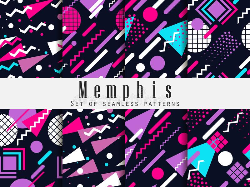 Memphis seamless pattern. Geometric elements memphis in the style of 80`s. Vector vector illustration