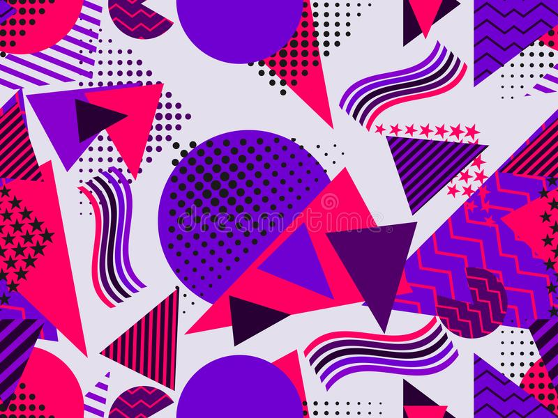Memphis seamless pattern with geometric figures in the style of the 80s. Purple, blue and red color. Vector vector illustration