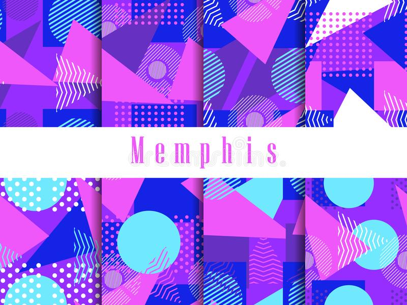 Memphis seamless pattern set. Geometric elements memphis in the style of 80s. Triangles, circles and dots, dotted. Violet vector illustration