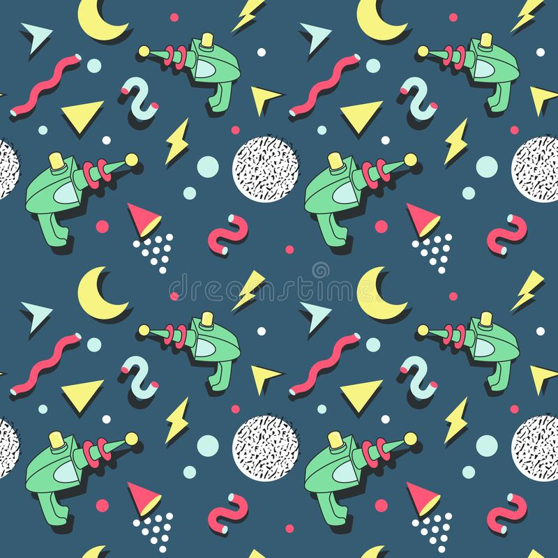 Memphis Seamless Pattern Space Theme. Abstract Trendy Background Retro Style royalty free illustration