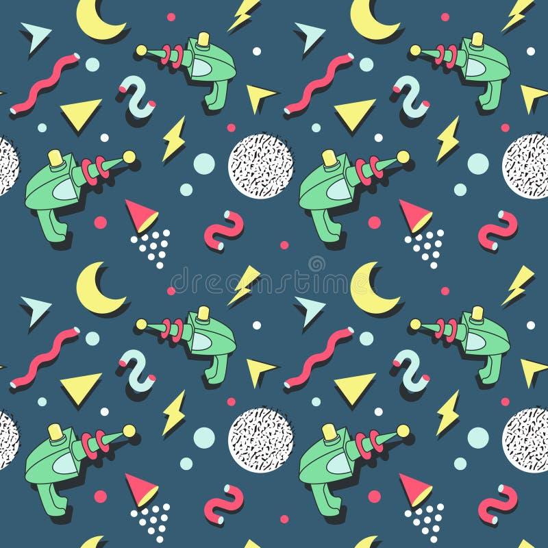 Memphis Seamless Pattern Space Theme Retro stil för abstrakt moderiktig bakgrund royaltyfri illustrationer