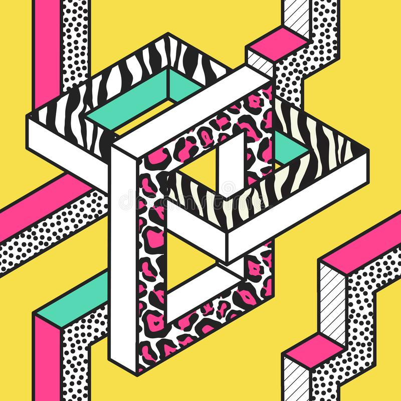 Memphis Seamless Patterns abstrato com formas 3d geométricas Projeto da tela da forma 80s 90s Fundo na moda do moderno ilustração do vetor