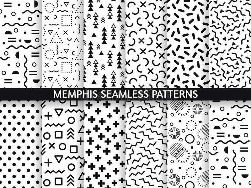 Memphis seamless patterns. Funky pattern, retro fashion 80s and 90s print pattern texture. Geometric graphics style royalty free illustration