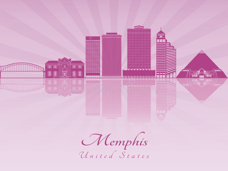 Memphis skyline in purple radiant orchid. In editable vector file vector illustration