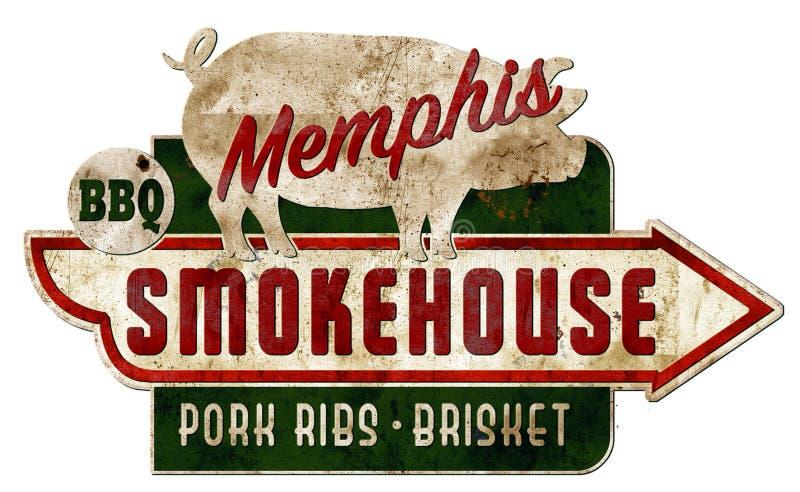 Memphis Smokehouse Sign Vintage Grunge Ribs Real stock image