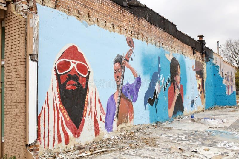 Memphis Soul Music Artists Painting på en vinkel, Memphis, Tennessee royaltyfria bilder