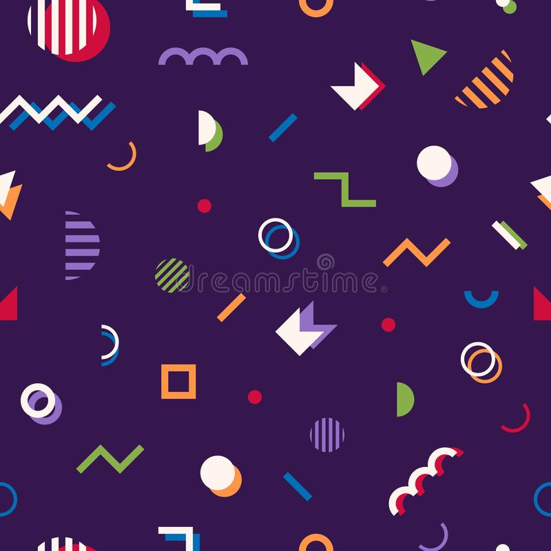 Memphis style abstract geometric seamless pattern. Composition 1 vector illustration