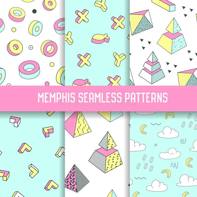 Memphis Style Abstract Seamless Patterns ajustou-se com elementos geométricos Fundos funky da forma do moderno 80s-90s ilustração stock
