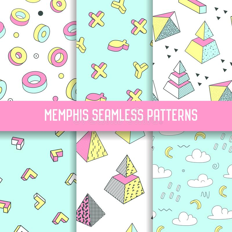 Memphis Style Abstract Seamless Patterns Set with Geometric Elements. Funky Hipster 80s-90s Fashion Backgrounds. For Wallpaper, Posters, Fabric. Vector stock illustration