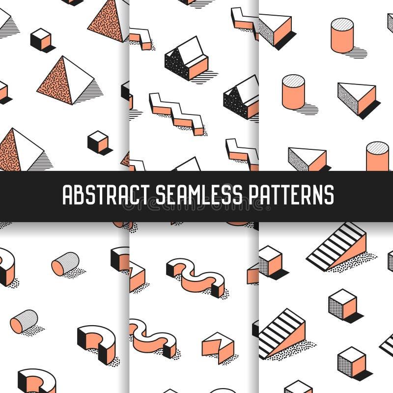 Memphis Style Abstract Seamless Patterns uppsättning med geometriska beståndsdelar Skraj modebakgrunder för Hipster 80s-90s royaltyfri illustrationer