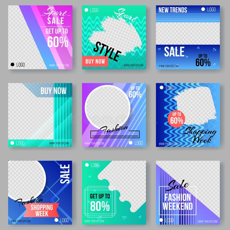 Memphis Style Ad Covers Set with Geometric Shapes. Memphis Style Covers Set with Geometric Shapes and Patterns. Collection of Templates in Trendy Fashion vector illustration