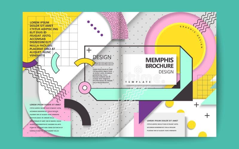 Memphis style brochure vector illustration