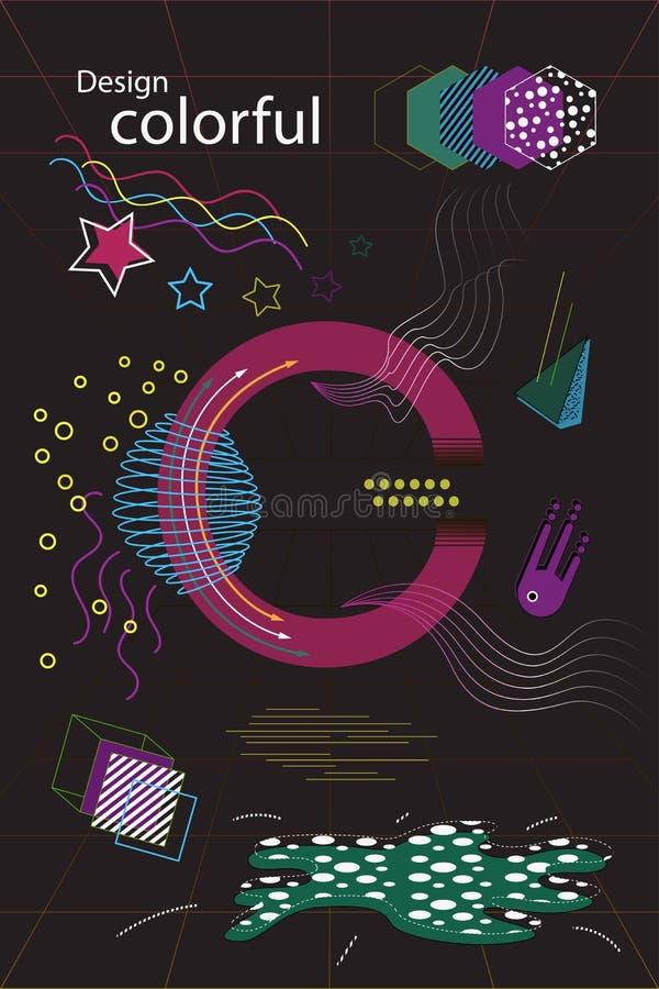 Memphis style card Design stock illustration
