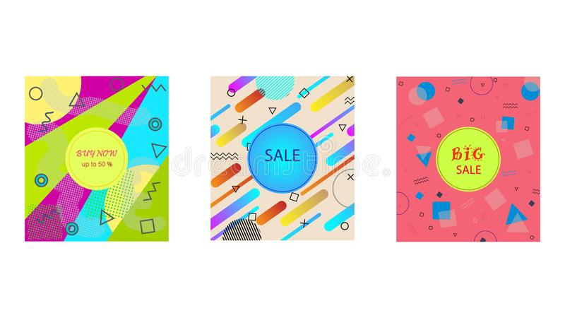 Memphis style cards with geometric shapes and patterns. Collection of templates in trendy fashion 80-90s royalty free illustration