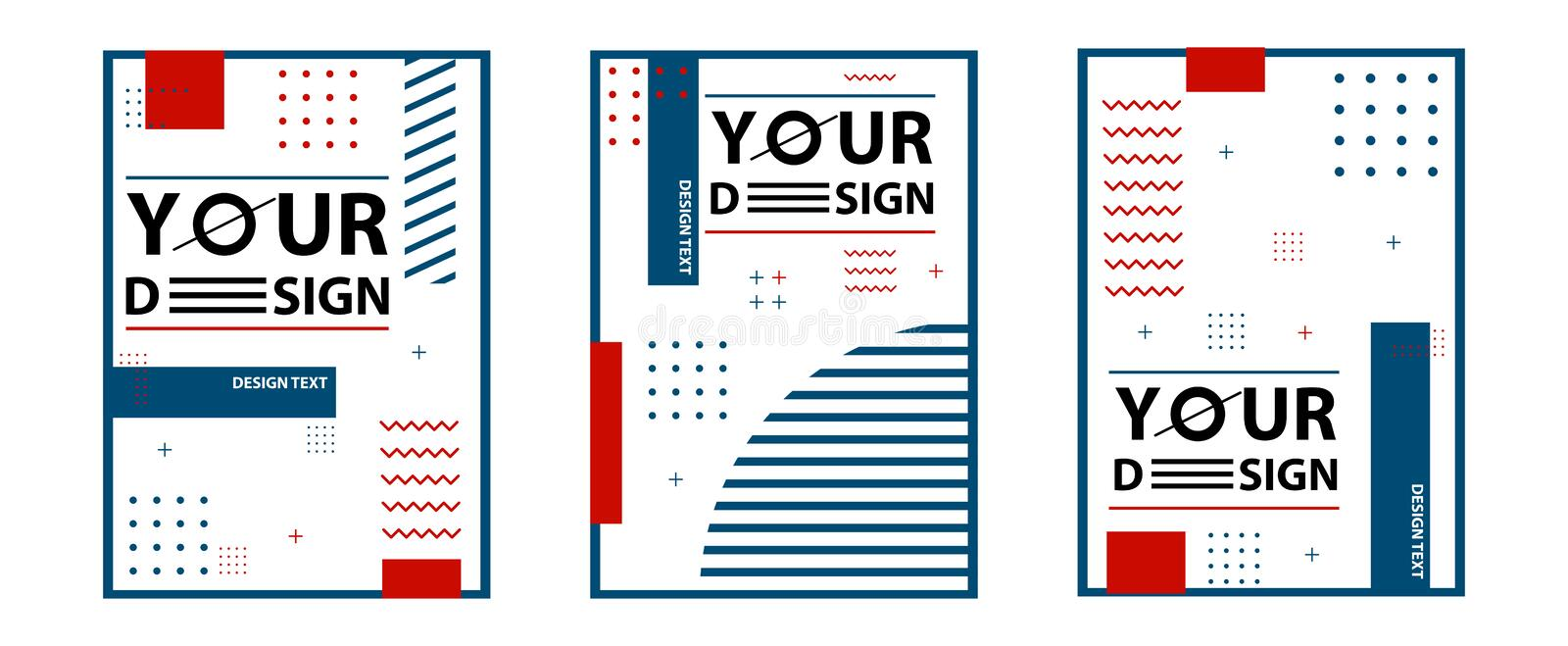 Memphis style cards. Set of templates in trendy memphis fashion 80-90s. Perfect for ad, greeting cards, presentation, cover design stock illustration